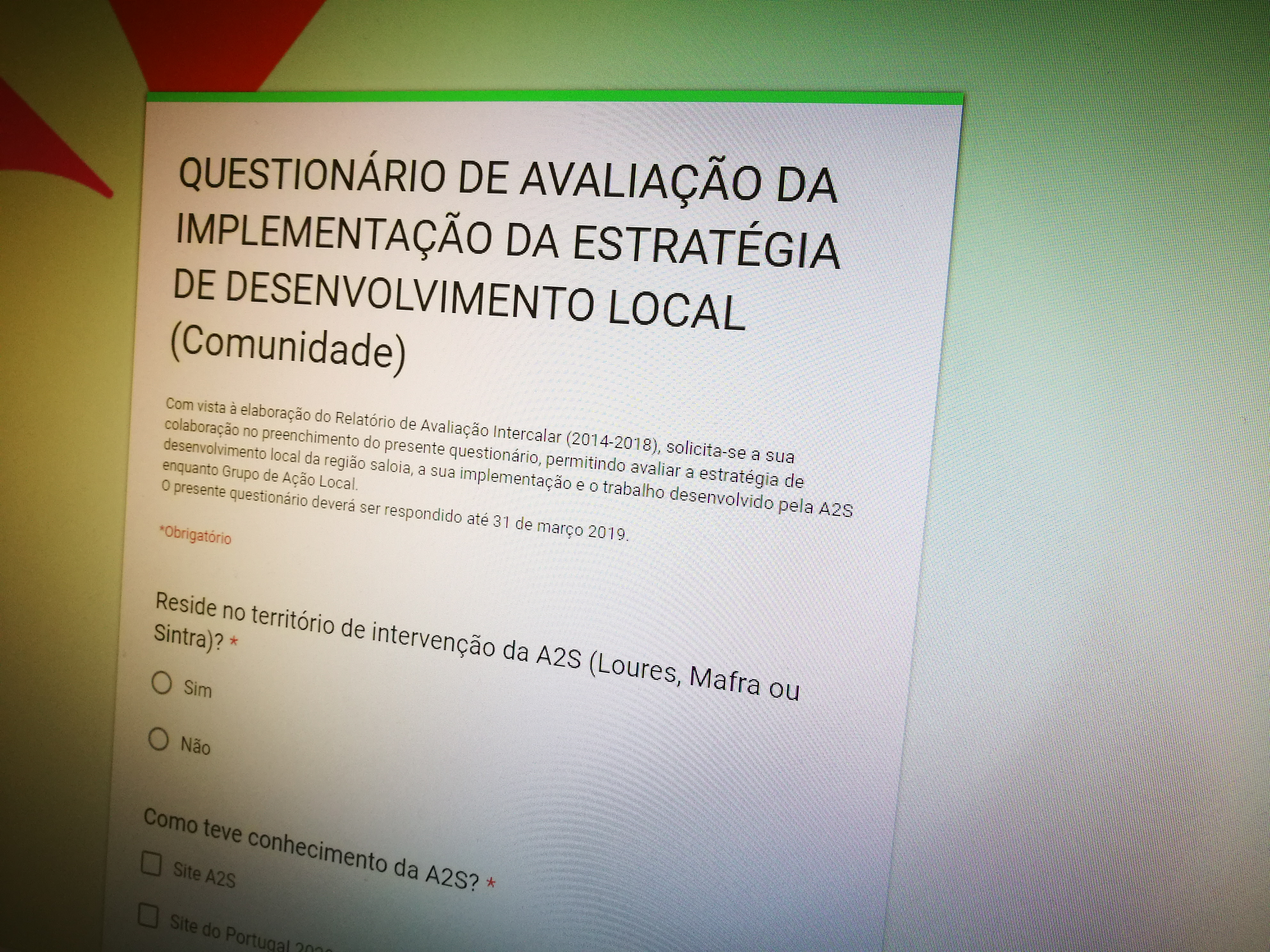 QUESTIONÁRIO DE AVALIAÇÃO DA IMPLEMENTAÇÃO DA ESTRATÉGIA DE DESENVOLVIMENTO LOCAL – Até 10 De Abril